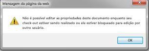 Mensagem informando que o arquivo está bloqueado para outra pessoa