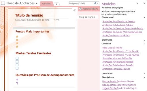 Captura de tela de uma página do bloco de anotações criada de um modelo de reunião. O painel Modelos está aberto.