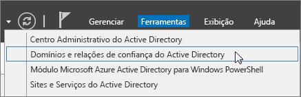 Escolha Domínios e Relações de Confiança do Active Directory.