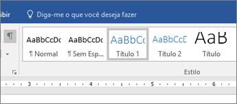 Captura de tela das opções de estilo de títulos