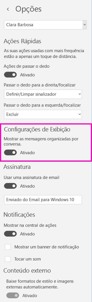 Desativar a exibição de conversa no aplicativo Email para Windows 10