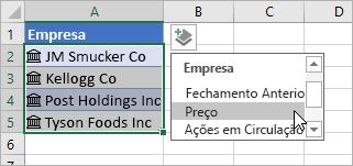 Cursor clicando em Adicionar Coluna e selecionando Preço na lista de campos