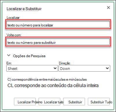 Substituir texto ou números em uma pasta de trabalho ou planilha pressionando Ctrl + H