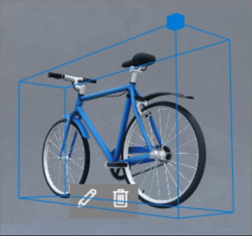 Interface do usuário de escala da caixa delimitadora