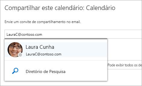 Uma captura de tela do compartilhamento esta caixa de diálogo do calendário.