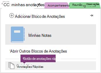 Botão anotações rápida na parte inferior da lista de bloco de anotações