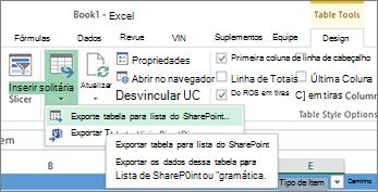 Exportar para o link do SharePoint no Excel realçado