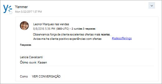 Uma captura de tela de um cartão de um serviço conectado que seja entregue em sua caixa de entrada do grupo