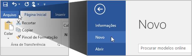Interface do usuário para a criação de um novo documento do Word.