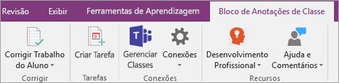 Guia do Bloco de anotações de classe na faixa de opções do OneNote mostrando o botão Gerenciar Classes de equipes.