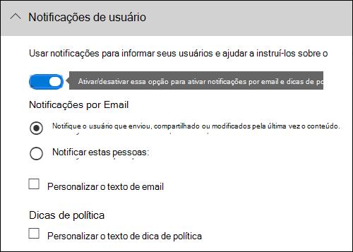 Seção de notificações de usuário do editor de regra