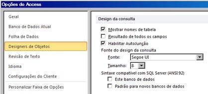 mostra as configurações de design de consulta