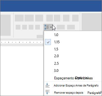 Opções para alterar o espaçamento entre linhas no Word