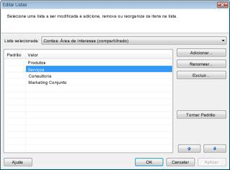 A caixa de diálogo Editar Listas