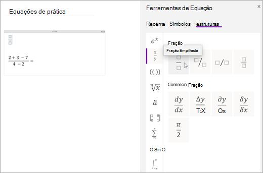Selecione estruturas e, em seguida, selecione uma categoria para procurar estruturas matemáticas disponíveis.