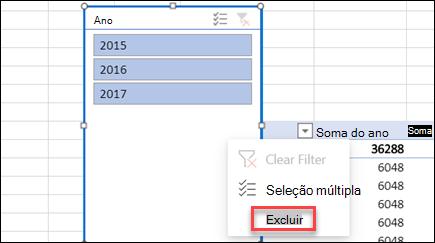 Menu de contexto da slicer de tabela dinâmica no Excel para a Web