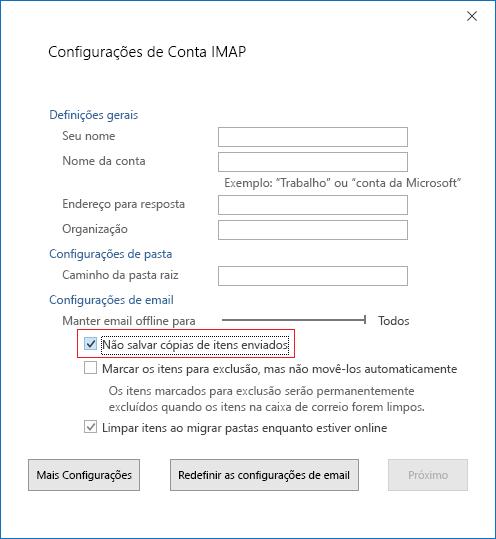 Configurações de conta IMA. Não salvar cópias de Itens enviados