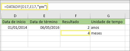 """=DATADIF(D17;E17;""""ym"""") e o resultado: 4"""