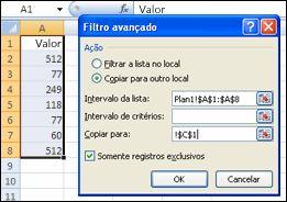 Aplicando o Filtro Avançado em um intervalo de dados