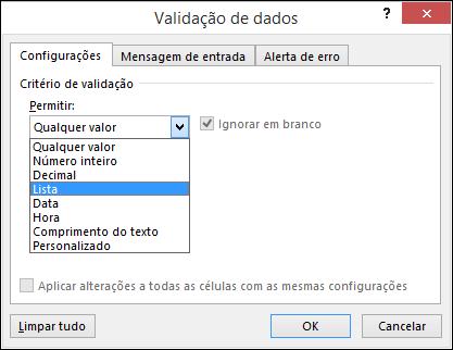 Guia Configurações na caixa de diálogo Validação de Dados