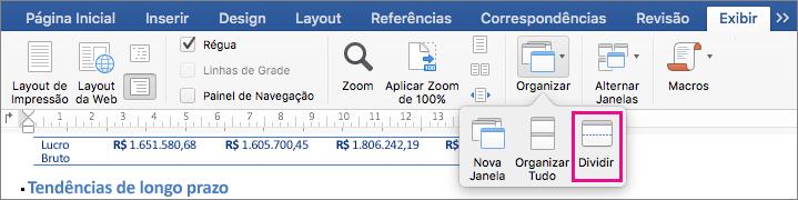 Clique em Dividir para dividir a janela do Word em dois modos de exibição do mesmo documento.