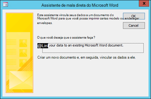 Selecione vincular seus dados a um documento existente do Word ou criar um novo documento.