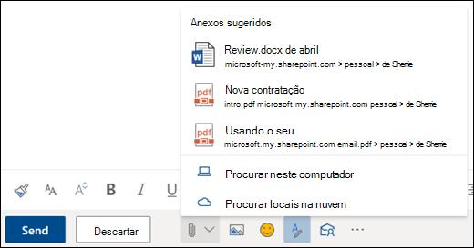 Anexar arquivos que mostram anexos sugeridos