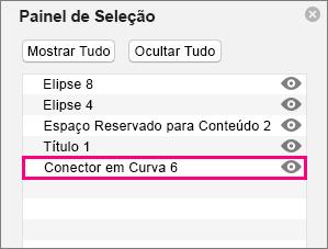 Mostra o conector na parte inferior da lista no painel de seleção