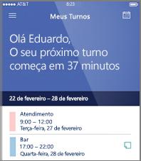 Exemplo de cronograma de trabalho do dia no aplicativo móvel StaffHub