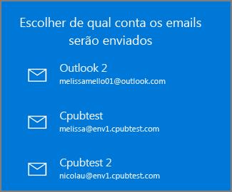 Escolher uma conta a partir da qual enviar um email