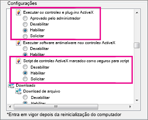 Permitir que os controles ActiveX sejam carregados e executados no Internet Explorer