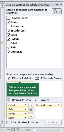 Filtro de Relatório no painel Lista de Campos da Tabela Dinâmica.