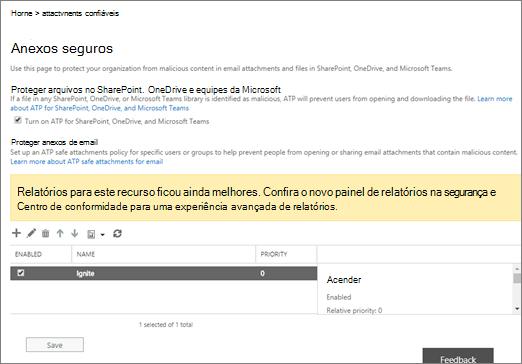 Ativar proteção avançada para o SharePoint Online e OneDrive for Business e equipes da Microsoft