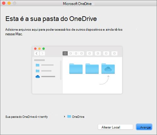 Captura de tela da página Esta é a sua Pasta do OneDrive no assistente Bem-vindo ao OneDrive em um Mac