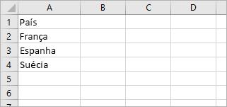 """A célula A1 contém """"País"""" e as células de A2 a A4 contêm os nomes de país/região: França, Espanha, Suécia"""