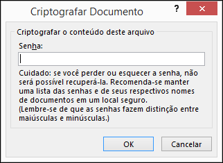 Caixa de diálogo Criptografar documento