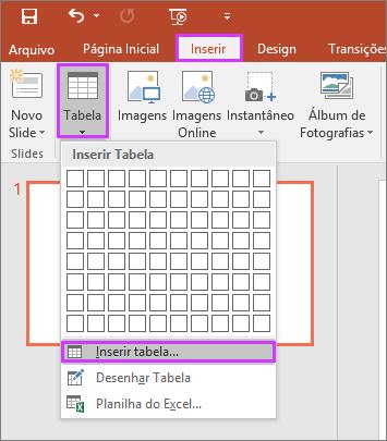 Mostra a opção Tabela na guia Inserir na faixa de opções no PowerPoint
