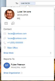 Cartão de visita no calendário do Outlook
