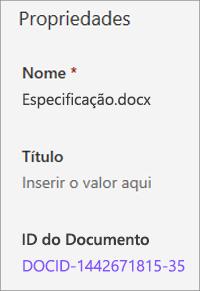 ID do documento mostrada no painel detalhes