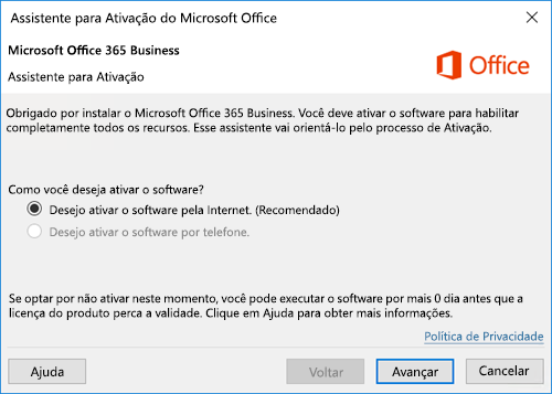 Mostra o Assistente para Ativação do Office 365 Business
