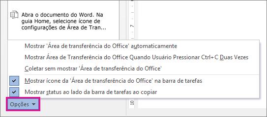 As opções da Área de Transferência no Word 2013
