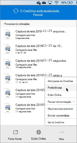 Captura de tela da configuração das preferências pessoais do OneDrive