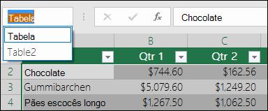 Barra de endereços do Excel à esquerda da barra de fórmulas