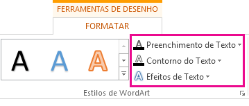 Grupo Estilos de WordArt na guia Formatar Ferramentas de Desenho