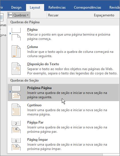 As opções de quebra são mostradas na guia Layout.
