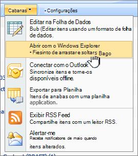 A opção Abrir no Windows Explorer menu em ações