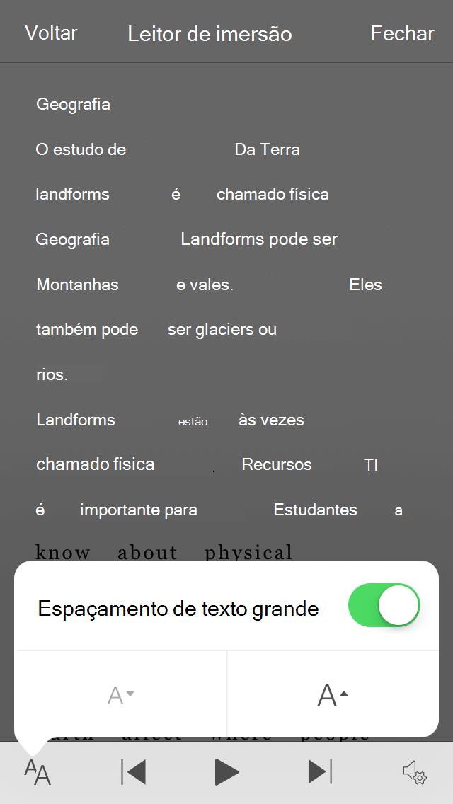 Captura de tela do botão de alternância de configuração espaçamento de texto grande do Office Lens.
