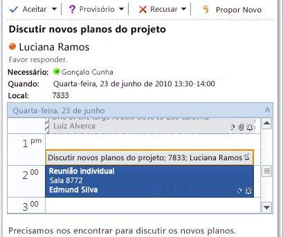 Visualização Rápida do calendário na mensagem de solicitação de reunião