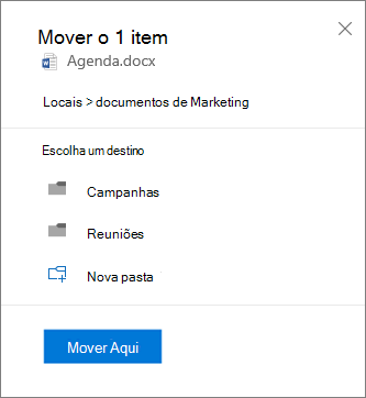 Captura de tela de como mover um arquivo do OneDrive for Business para um site do SharePoint