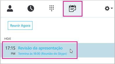 Ingressar em uma reunião pela guia Reunião do Skype for Business
